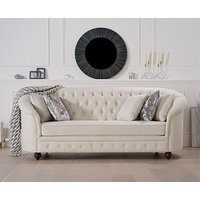 Product photograph showing Ex-display Chloe Chesterfield Ivory Linen Fabric Three-seater Sofa