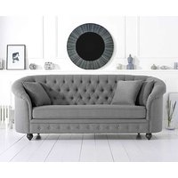 Product photograph showing Ex-display Chloe Chesterfield Grey Linen Fabric Three-seater Sofa