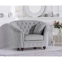 Product photograph showing Ex-display Chloe Chesterfield Grey Plush Fabric Armchair