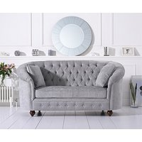 Product photograph showing Ex-display Chloe Chesterfield Grey Plush Fabric Two-seater Sofa