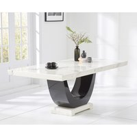 Product photograph showing Raphael 170cm White And Black Pedestal Marble Dining Table