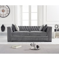 Product photograph showing Ex-display Porto Grey Velvet 3 Seater Sofa