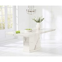 Product photograph showing Ex-display Carvelle 160cm White Pedestal Marble Dining Table