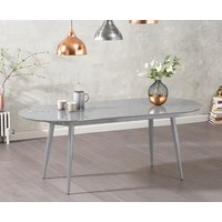 Read more about Olivia extending light grey high gloss dining table