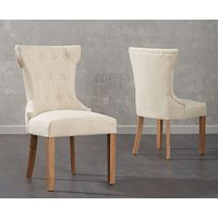 Product photograph showing Ex-display Set Of 2 Camille Cream Fabric Dining Chairs