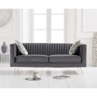 Product photograph showing Danube Grey Velvet 2 Seater Sofa