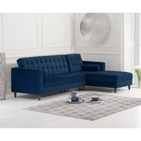 Product photograph showing Atlantic Blue Velvet Right Facing Chaise Sofa
