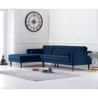 Product photograph showing Indus Blue Velvet Left Facing Chaise Sofa