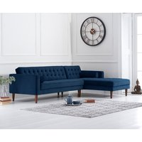 Product photograph showing Indus Blue Velvet Right Facing Chaise Sofa
