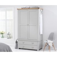 Product photograph showing Somerset Oak And Grey Two Door Two Drawer Wardrobe