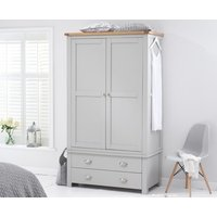Product photograph showing Ex-display Somerset Oak And Grey Two Door Two Drawer Wardrobe