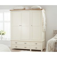 Product photograph showing Somerset Oak And Cream 3 Door 4 Drawer Wardrobe