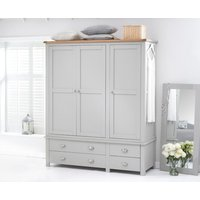 Product photograph showing Somerset Oak And Grey 3 Door 4 Drawer Wardrobe