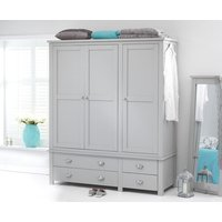 Product photograph showing Somerset Grey 3 Door 4 Drawer Wardrobe