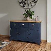 Cole Oak and Blue 3 Door Sideboard
