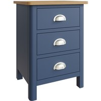 Fay Oak and Blue 3 Drawer Bedside Table