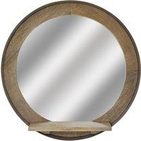Sphere Round Mirror with Shelf