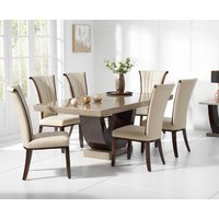 Read more about Raphael 170cm brown pedestal marble dining table with alpine chairs
