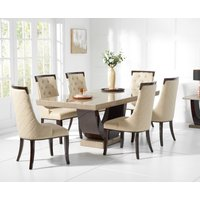 Read more about Raphael 170cm brown pedestal marble dining table with angelica chairs