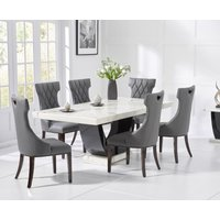 Raphael 200cm White and Black Pedestal Marble Dining Table with Freya Chairs