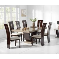 Raphael 200cm Brown Pedestal Marble Dining Table with Verbier Chairs