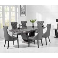 Raphael 170cm Dark Grey Pedestal Marble Dining Table with Freya Chairs