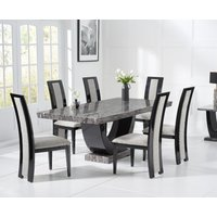 Raphael 170cm Dark Grey Pedestal Marble Dining Table with 4 Raphael Chairs