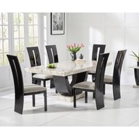 Raphael 170cm Cream and Black Pedestal Marble Dining Table with Verbier Chairs - Black, 4 Chairs