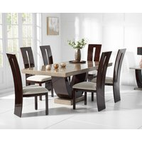 Raphael 170cm Brown Pedestal Marble Dining Table with Verbier Chairs - Brown, 4 Chairs