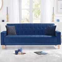 Reading Blue Velvet 3 Seater Fold Down Sofa Bed
