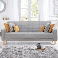 Reading Grey Linen 3 Seater Fold Down Sofa Bed