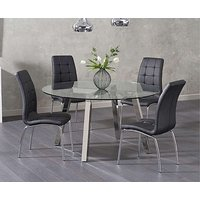 Product photograph showing Ex-display Reece Round Glass Dining Table With 4 Grey Calgary Chairs
