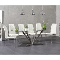 Reno 200cm Glass Dining Table with Calgary Chairs