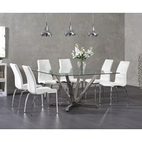 Product photograph showing Ex-display Reno Square Glass Dining Table With 4 Black Cavello Chairs