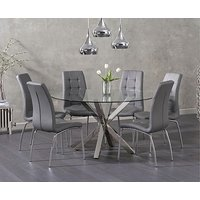 Product photograph showing Ex-display Rio Round Glass Dining Table With 4 Cream Calgary Chairs