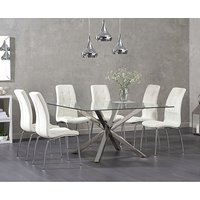 Product photograph showing Ex-display Rio Square Glass Dining Table With 4 Grey Calgary Chairs