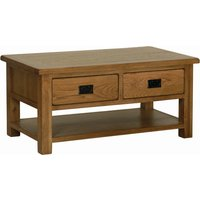 Product photograph showing Rustica Oak Coffee Table With Drawers