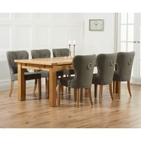 Normandy 220cm Solid Oak Extending Dining Table with Knightsbridge Fabric Chairs