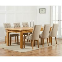 Read more about Normandy 220cm solid oak extending dining table with pacific fabric chairs