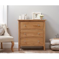 Product photograph showing Sadie Oak 3 Drawer Chest