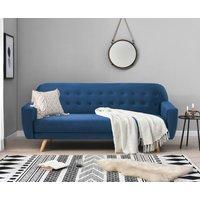 Scala Blue Velvet 3 Seater Fold Down Sofa Bed