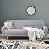 Scala Grey Linen 3 Seater Fold Down Sofa Bed