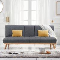 Sloane Grey Linen 3 Seater Fold Down Sofa Bed