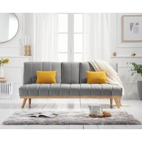 Product photograph showing Ex-display Sloane Grey Velvet 3 Seater Fold Down Sofa Bed