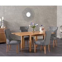 Somerset 90cm Flip Top Oak Dining Table with Camille Grey Faux Leather Chairs - Grey, 2 Chairs