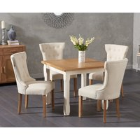 Read more about Somerset 90cm flip top oak and cream dining table with camille cream fabric chairs - cream- 2 chairs