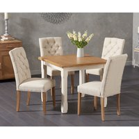 Read more about Somerset 90cm flip top oak and cream dining table with claudia cream fabric chairs - cream- 2 chairs