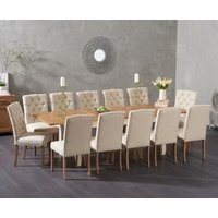 Somerset 180cm Oak and Cream Extending Dining Table with Claudia Fabric Chairs