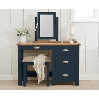 Product photograph showing Somerset Oak And Blue Dressing Table Set