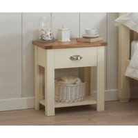 Product photograph showing Somerset Oak And Cream Bedside Table
